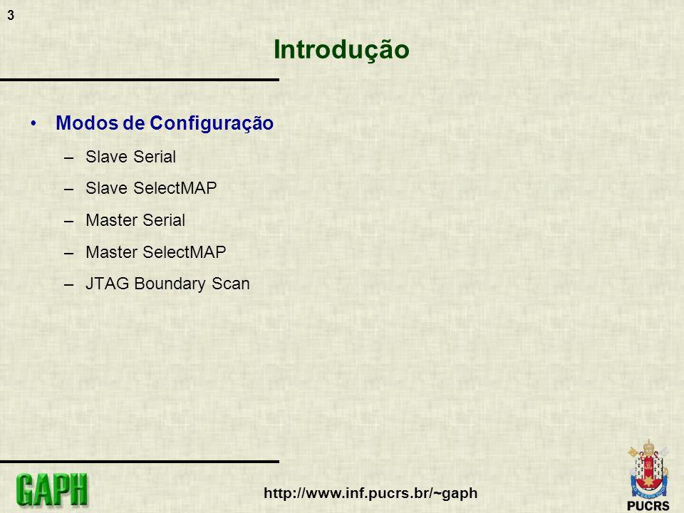 3 http://www.inf.pucrs.br/~gaph Introdução Modos de Configuração –Slave Serial –Slave SelectMAP –Master Serial –Master SelectMAP –JTAG Boundary Scan