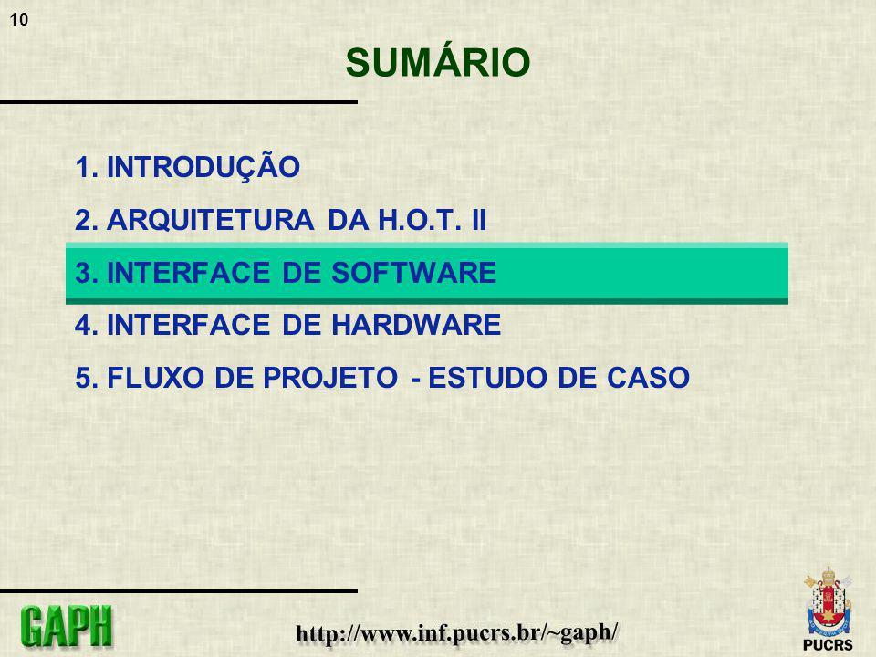 10 SUMÁRIO 1. INTRODUÇÃO 2. ARQUITETURA DA H.O.T. II 3. INTERFACE DE SOFTWARE 4. INTERFACE DE HARDWARE 5. FLUXO DE PROJETO - ESTUDO DE CASO