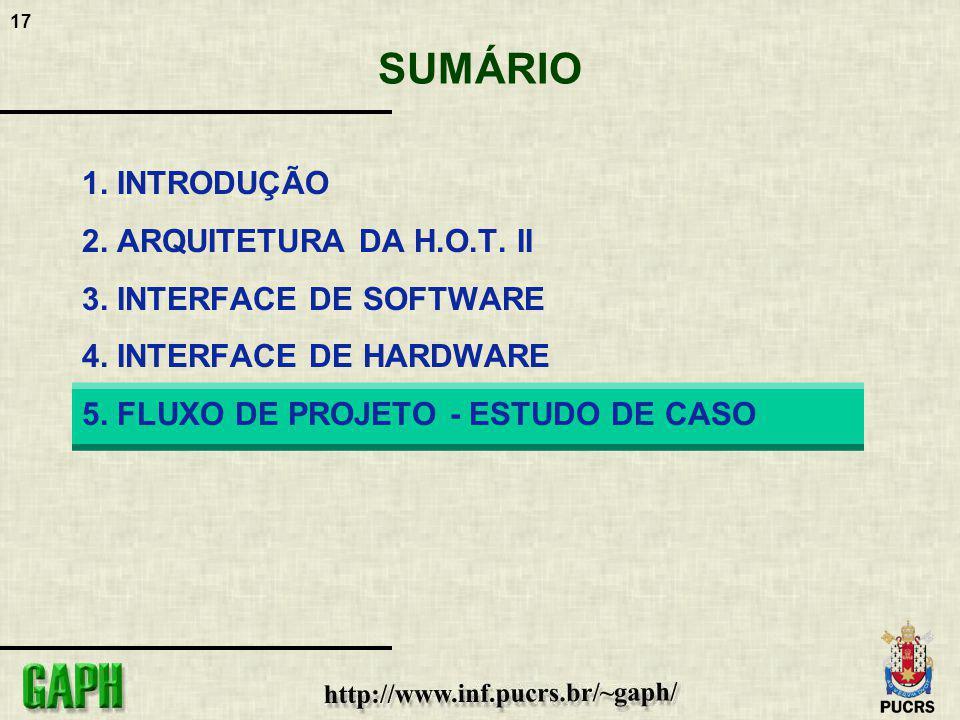 17 SUMÁRIO 1. INTRODUÇÃO 2. ARQUITETURA DA H.O.T. II 3. INTERFACE DE SOFTWARE 4. INTERFACE DE HARDWARE 5. FLUXO DE PROJETO - ESTUDO DE CASO