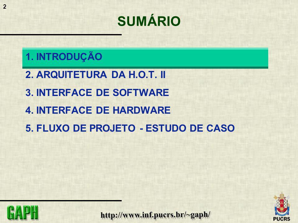 2 SUMÁRIO 1. INTRODUÇÃO 2. ARQUITETURA DA H.O.T. II 3. INTERFACE DE SOFTWARE 4. INTERFACE DE HARDWARE 5. FLUXO DE PROJETO - ESTUDO DE CASO