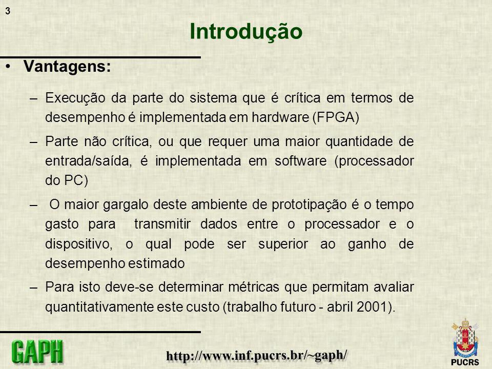14 Fluxo de projeto de hardware PROJETO USER_APP copiar o projeto Editar o VHDL inserindo a aplicação do usuário Realizar a síntese lógica do projeto, sem inserir pads, o resultado é um arquivo edif - user_app.edf user_app.edf PROJETO HDL_SHELL usar o projeto pci_core_t.ednUCF - pinagem e timing user_app.edf copiar SÍNTESE FÍSICA bitstream