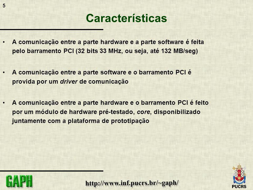 5 Características A comunicação entre a parte hardware e a parte software é feita pelo barramento PCI (32 bits 33 MHz, ou seja, até 132 MB/seg) A comu