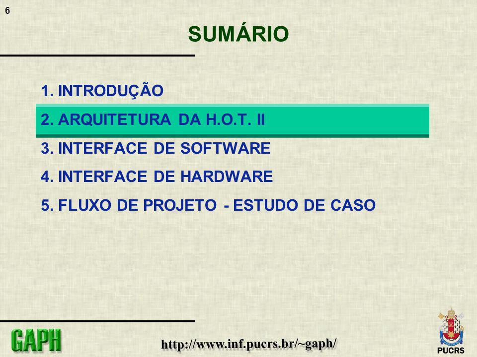 6 SUMÁRIO 1. INTRODUÇÃO 2. ARQUITETURA DA H.O.T. II 3. INTERFACE DE SOFTWARE 4. INTERFACE DE HARDWARE 5. FLUXO DE PROJETO - ESTUDO DE CASO