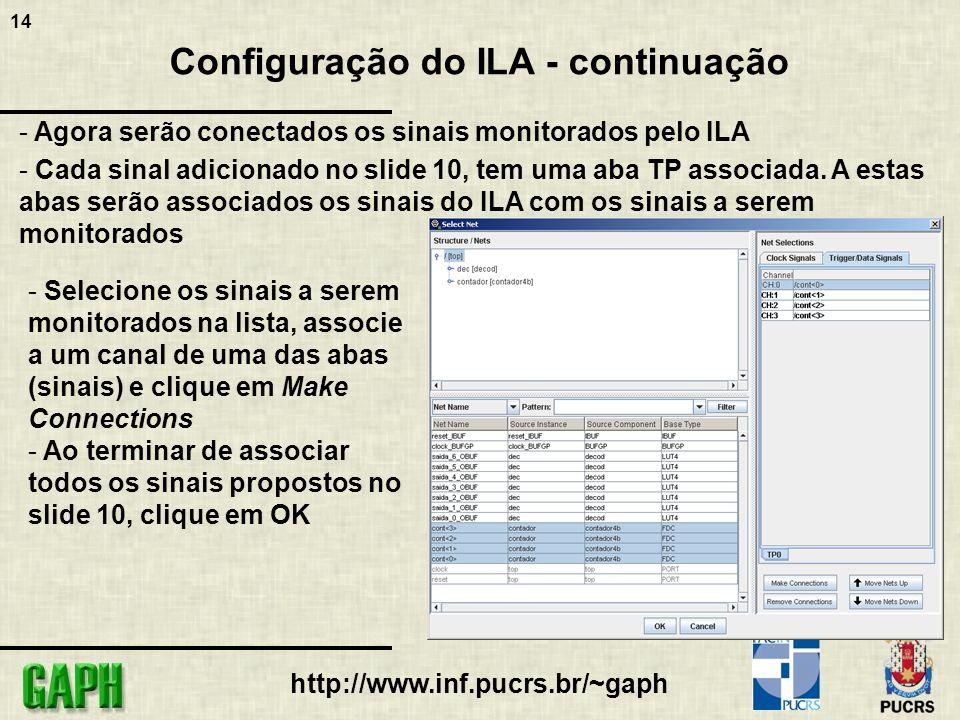 14 http://www.inf.pucrs.br/~gaph Configuração do ILA - continuação - Agora serão conectados os sinais monitorados pelo ILA - Cada sinal adicionado no