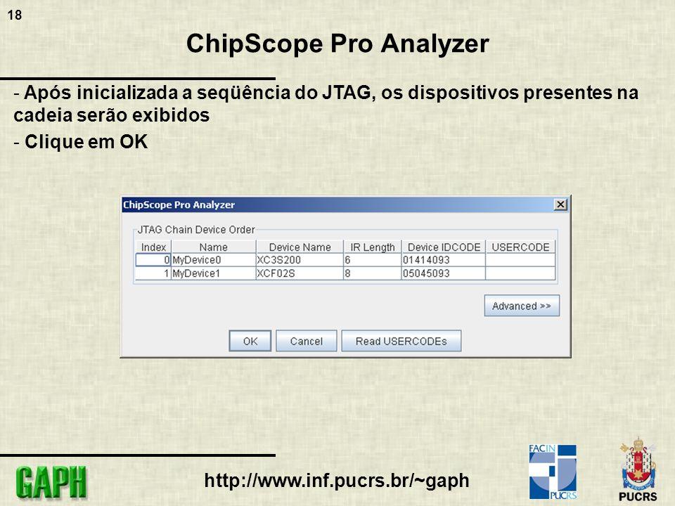 18 http://www.inf.pucrs.br/~gaph ChipScope Pro Analyzer - Após inicializada a seqüência do JTAG, os dispositivos presentes na cadeia serão exibidos -