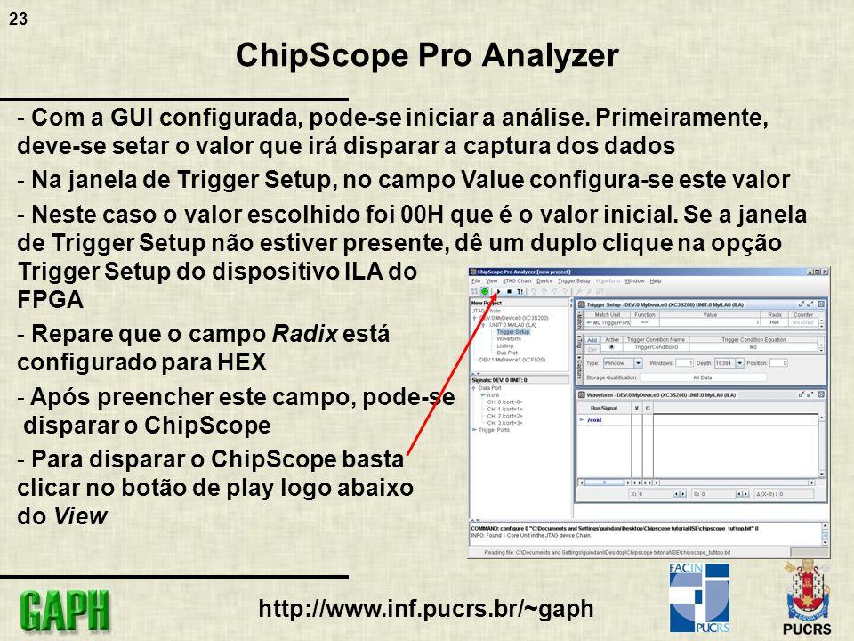 23 http://www.inf.pucrs.br/~gaph ChipScope Pro Analyzer - Com a GUI configurada, pode-se iniciar a análise.