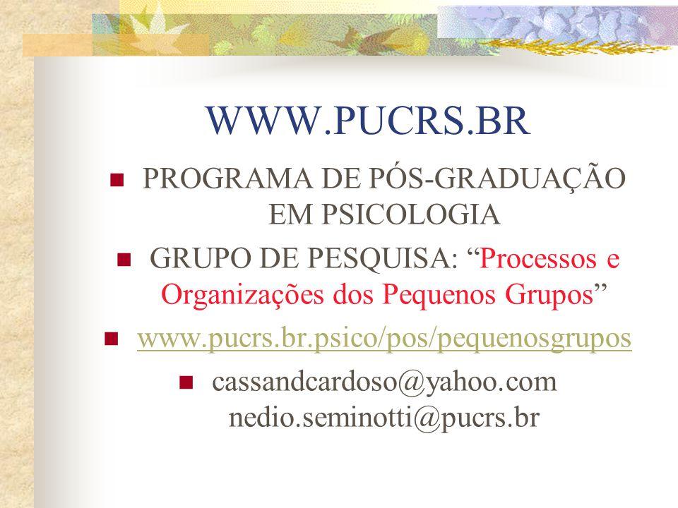 WWW.PUCRS.BR PROGRAMA DE PÓS-GRADUAÇÃO EM PSICOLOGIA GRUPO DE PESQUISA: Processos e Organizações dos Pequenos Grupos www.pucrs.br.psico/pos/pequenosgrupos cassandcardoso@yahoo.com nedio.seminotti@pucrs.br