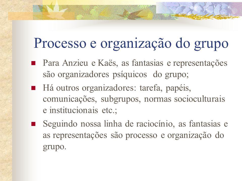 Processo e organização do grupo Para Anzieu e Kaës, as fantasias e representações são organizadores psíquicos do grupo; Há outros organizadores: tarefa, papéis, comunicações, subgrupos, normas socioculturais e institucionais etc.; Seguindo nossa linha de raciocínio, as fantasias e as representações são processo e organização do grupo.