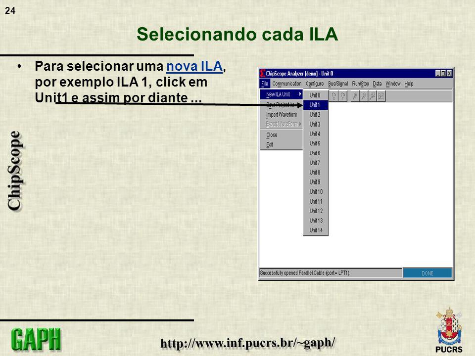 24 Selecionando cada ILA Para selecionar uma nova ILA, por exemplo ILA 1, click em Unit1 e assim por diante...