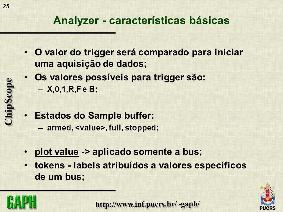 25 Analyzer - características básicas O valor do trigger será comparado para iniciar uma aquisição de dados; Os valores possíveis para trigger são: –X
