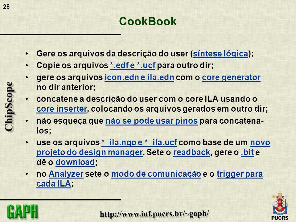 28 CookBook Gere os arquivos da descrição do user (síntese lógica); Copie os arquivos *.edf e *.ucf para outro dir; gere os arquivos icon.edn e ila.ed