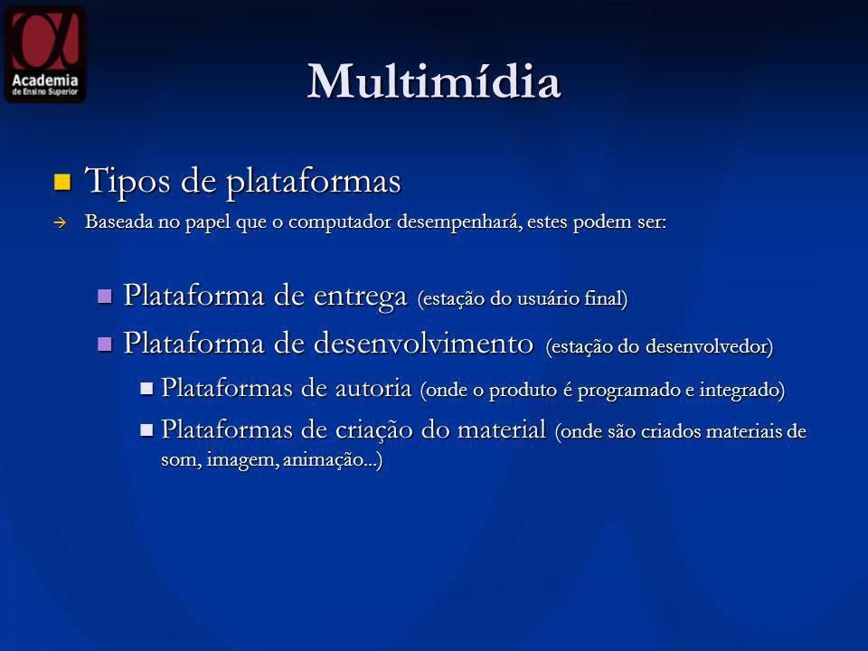 Multimídia Tipos de plataformas Tipos de plataformas Baseada no papel que o computador desempenhará, estes podem ser: Baseada no papel que o computado
