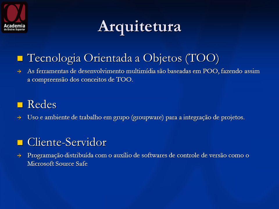 Arquitetura Tecnologia Orientada a Objetos (TOO) Tecnologia Orientada a Objetos (TOO) As ferramentas de desenvolvimento multimídia são baseadas em POO