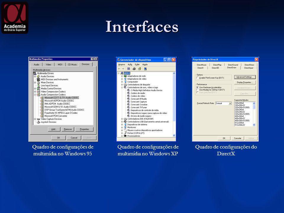 Interfaces Quadro de configurações de multimídia no Windows 95 Quadro de configurações de multimídia no Windows XP Quadro de configurações do DirectX