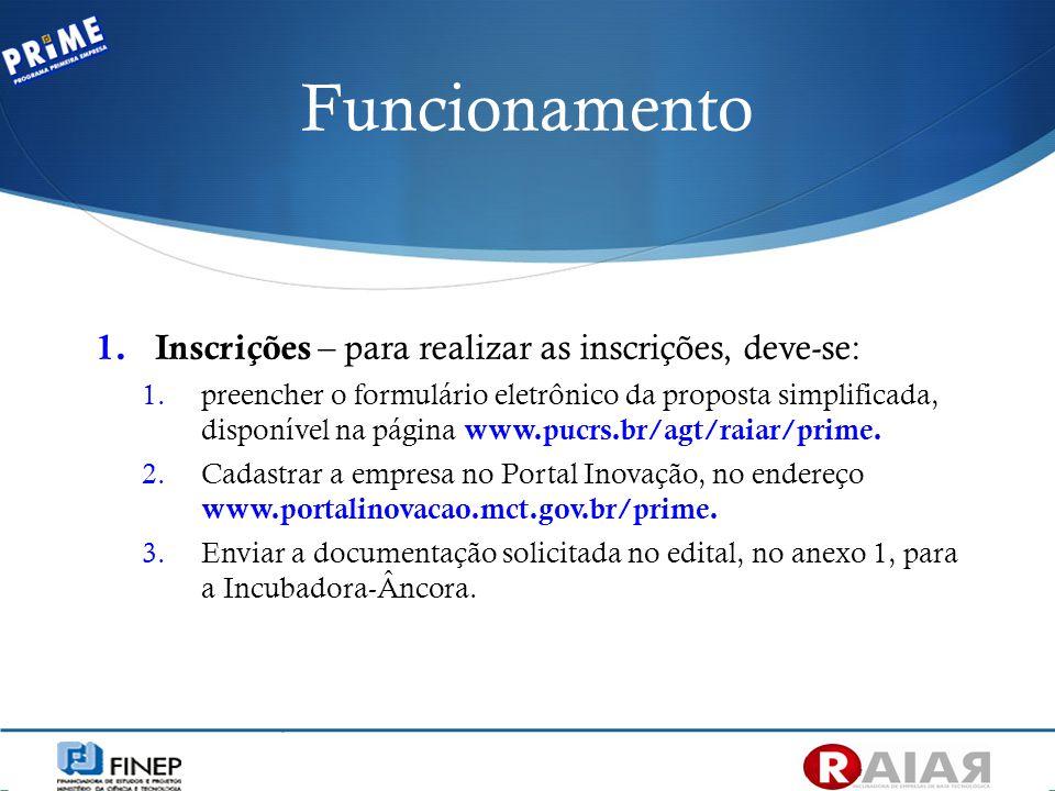 Funcionamento 1. Inscrições – para realizar as inscrições, deve-se: 1.preencher o formulário eletrônico da proposta simplificada, disponível na página