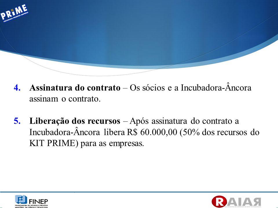 4.Assinatura do contrato – Os sócios e a Incubadora-Âncora assinam o contrato. 5.Liberação dos recursos – Após assinatura do contrato a Incubadora-Ânc