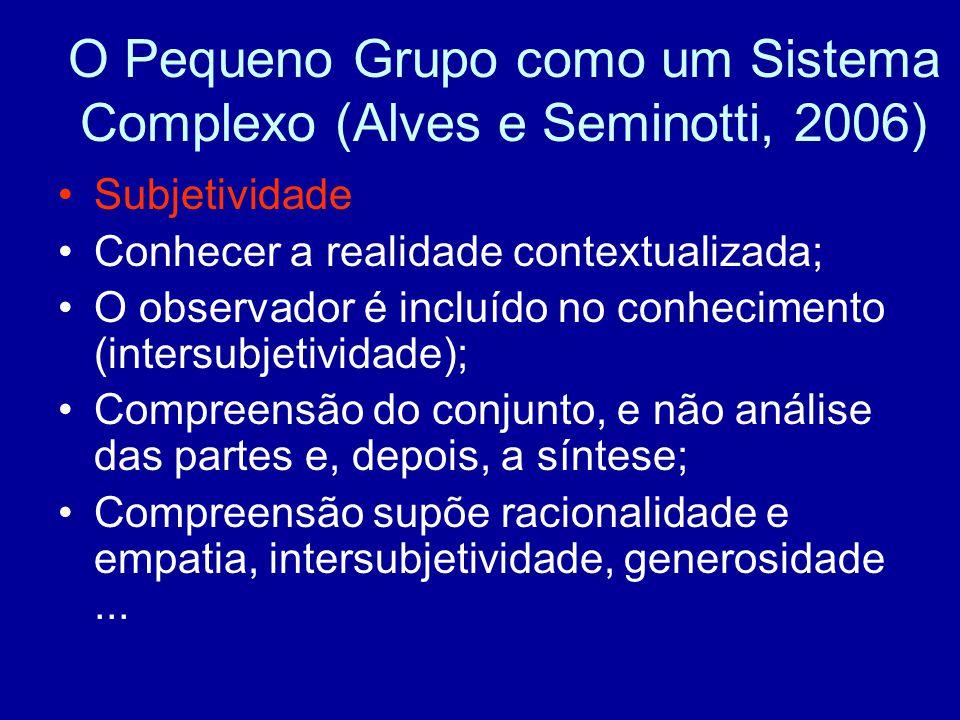 O Pequeno Grupo como um Sistema Complexo (Alves e Seminotti, 2006) Subjetividade Conhecer a realidade contextualizada; O observador é incluído no conhecimento (intersubjetividade); Compreensão do conjunto, e não análise das partes e, depois, a síntese; Compreensão supõe racionalidade e empatia, intersubjetividade, generosidade...