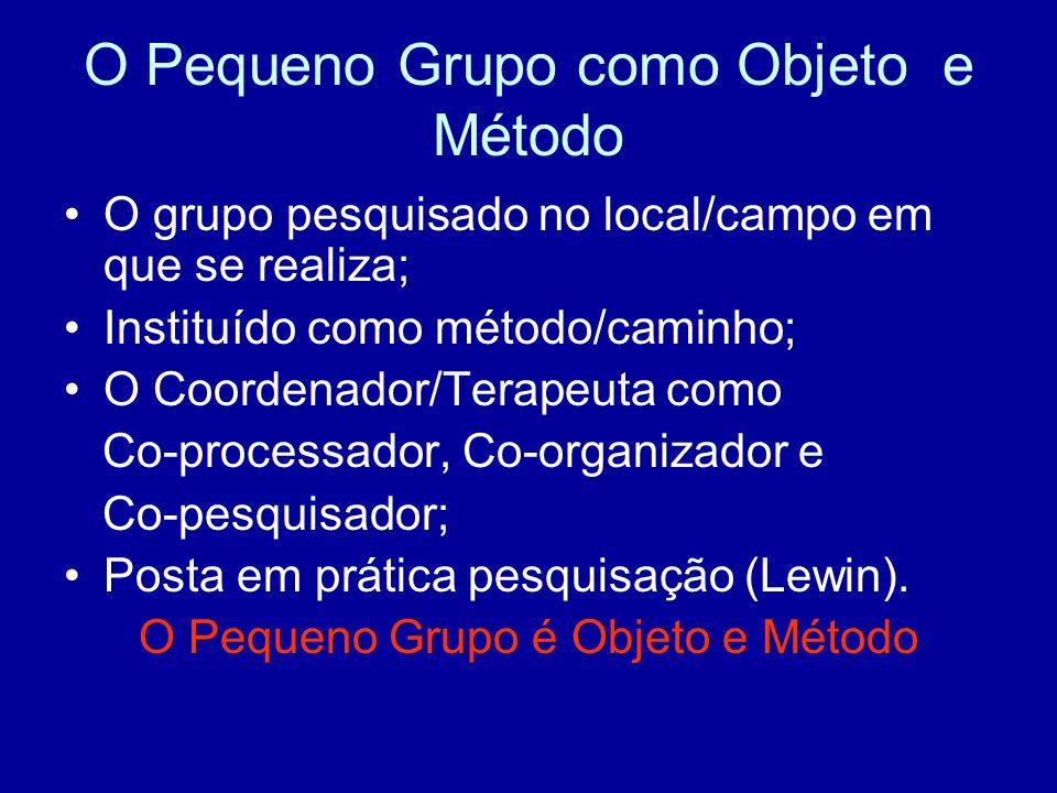 O Pequeno Grupo como Objeto e Método O grupo pesquisado no local/campo em que se realiza; Instituído como método/caminho; O Coordenador/Terapeuta como Co-processador, Co-organizador e Co-pesquisador; Posta em prática pesquisação (Lewin).