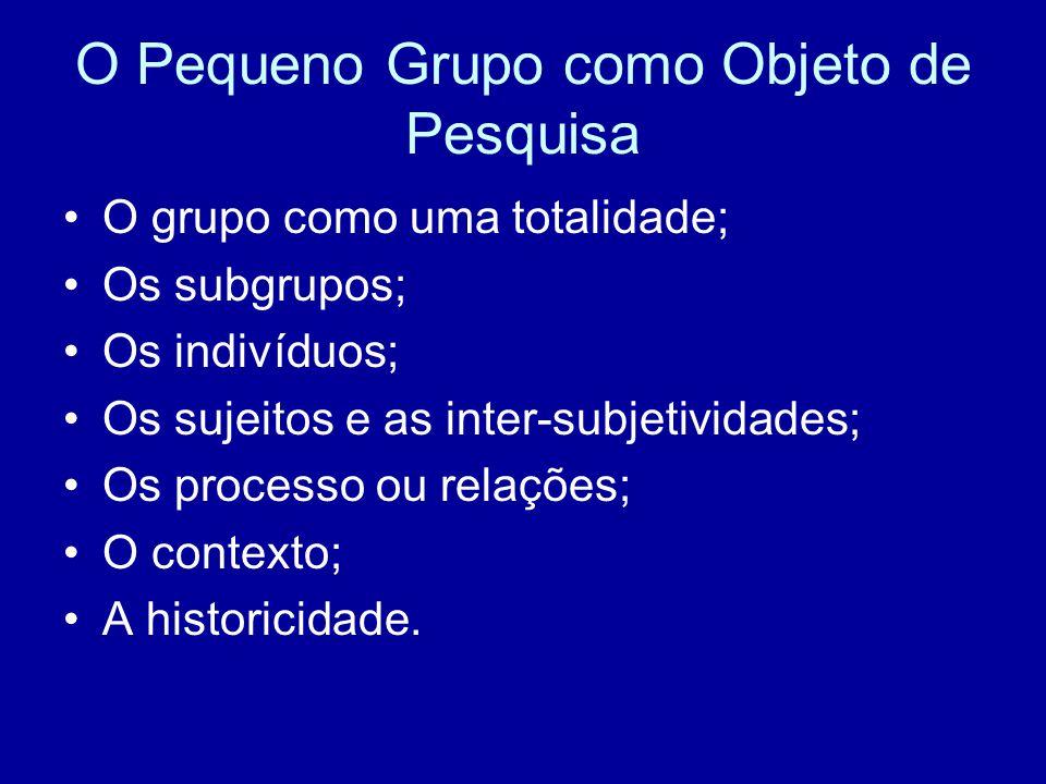 O Pequeno Grupo como Objeto de Pesquisa O grupo como uma totalidade; Os subgrupos; Os indivíduos; Os sujeitos e as inter-subjetividades; Os processo ou relações; O contexto; A historicidade.