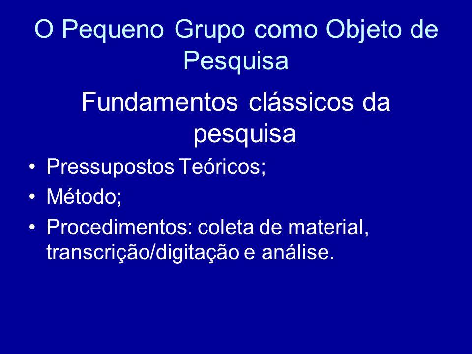 O Pequeno Grupo como Objeto de Pesquisa Fundamentos clássicos da pesquisa Pressupostos Teóricos; Método; Procedimentos: coleta de material, transcrição/digitação e análise.