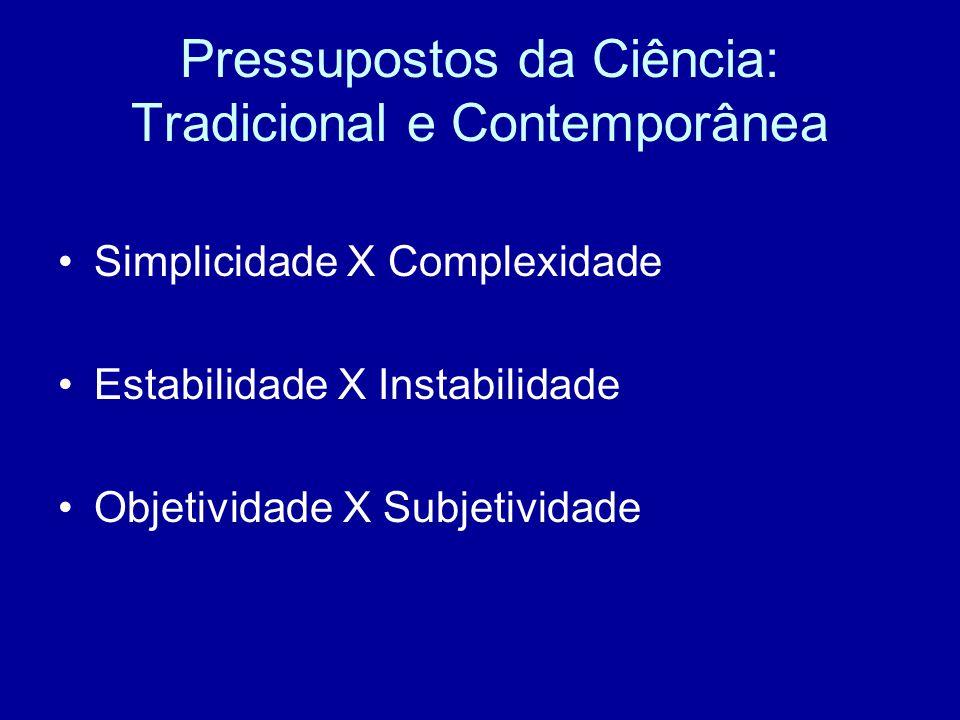 Pressupostos da Ciência: Tradicional e Contemporânea Simplicidade X Complexidade Estabilidade X Instabilidade Objetividade X Subjetividade