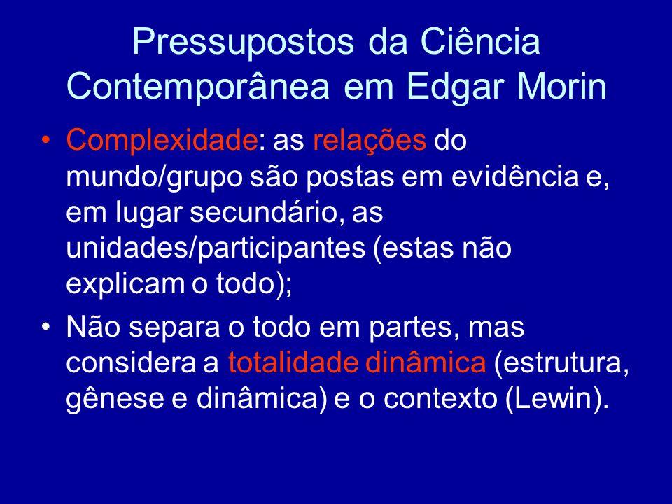 Pressupostos da Ciência Contemporânea em Edgar Morin Complexidade: as relações do mundo/grupo são postas em evidência e, em lugar secundário, as unidades/participantes (estas não explicam o todo); Não separa o todo em partes, mas considera a totalidade dinâmica (estrutura, gênese e dinâmica) e o contexto (Lewin).