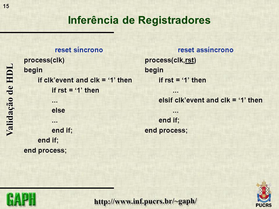 15 Validação de HDL Inferência de Registradores reset síncrono process(clk) begin if clkevent and clk = 1 then if rst = 1 then... else... end if; end