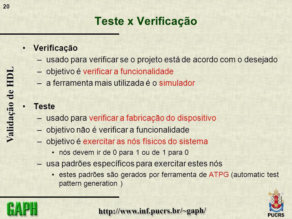 20 Validação de HDL Teste x Verificação Verificação –usado para verificar se o projeto está de acordo com o desejado –objetivo é verificar a funcional