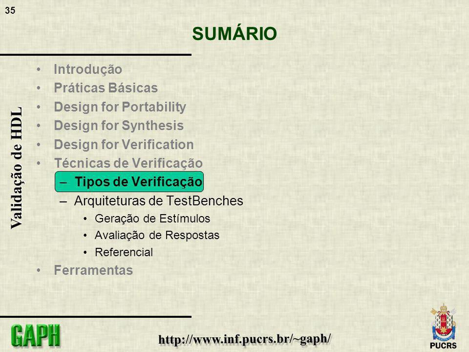 35 Validação de HDL SUMÁRIO Introdução Práticas Básicas Design for Portability Design for Synthesis Design for Verification Técnicas de Verificação –T