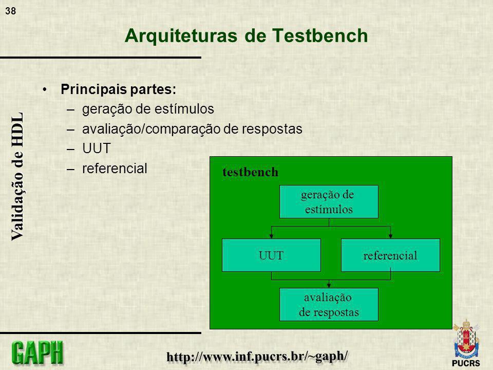 38 Validação de HDL Arquiteturas de Testbench Principais partes: –geração de estímulos –avaliação/comparação de respostas –UUT –referencial UUT testbe