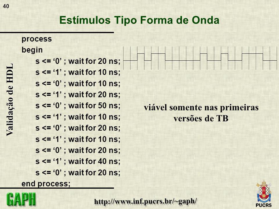 40 Validação de HDL Estímulos Tipo Forma de Onda process begin s <= 0 ; wait for 20 ns; s <= 1 ; wait for 10 ns; s <= 0 ; wait for 10 ns; s <= 1 ; wai