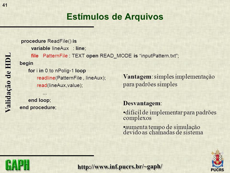 41 Validação de HDL Estímulos de Arquivos procedure ReadFile() is variable lineAux : line; file PatternFile : TEXT open READ_MODE is inputPattern.txt