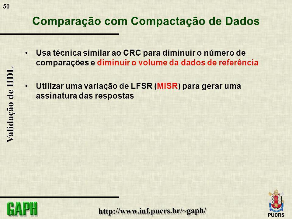 50 Validação de HDL Comparação com Compactação de Dados Usa técnica similar ao CRC para diminuir o número de comparações e diminuir o volume da dados