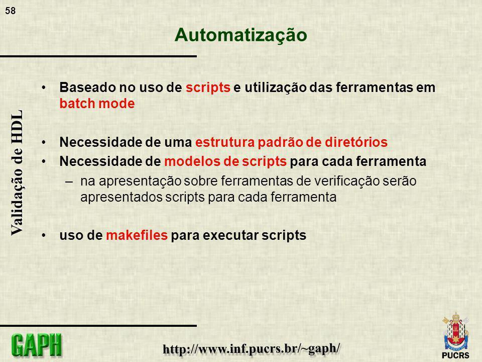 58 Validação de HDL Automatização Baseado no uso de scripts e utilização das ferramentas em batch mode Necessidade de uma estrutura padrão de diretóri