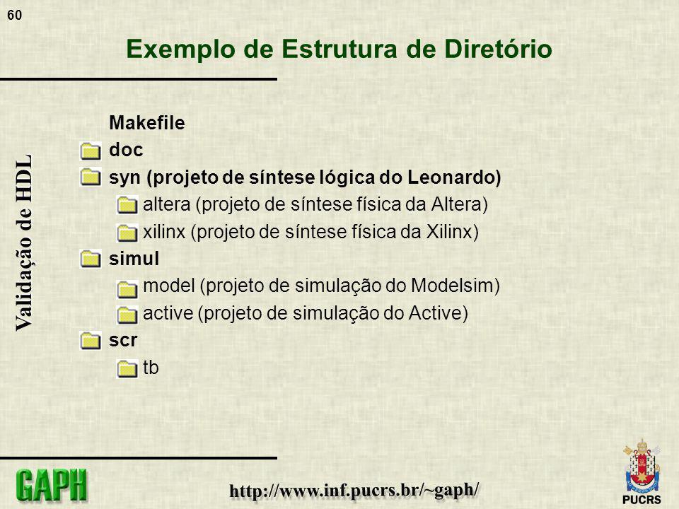 60 Validação de HDL Exemplo de Estrutura de Diretório Makefile doc syn (projeto de síntese lógica do Leonardo) altera (projeto de síntese física da Al