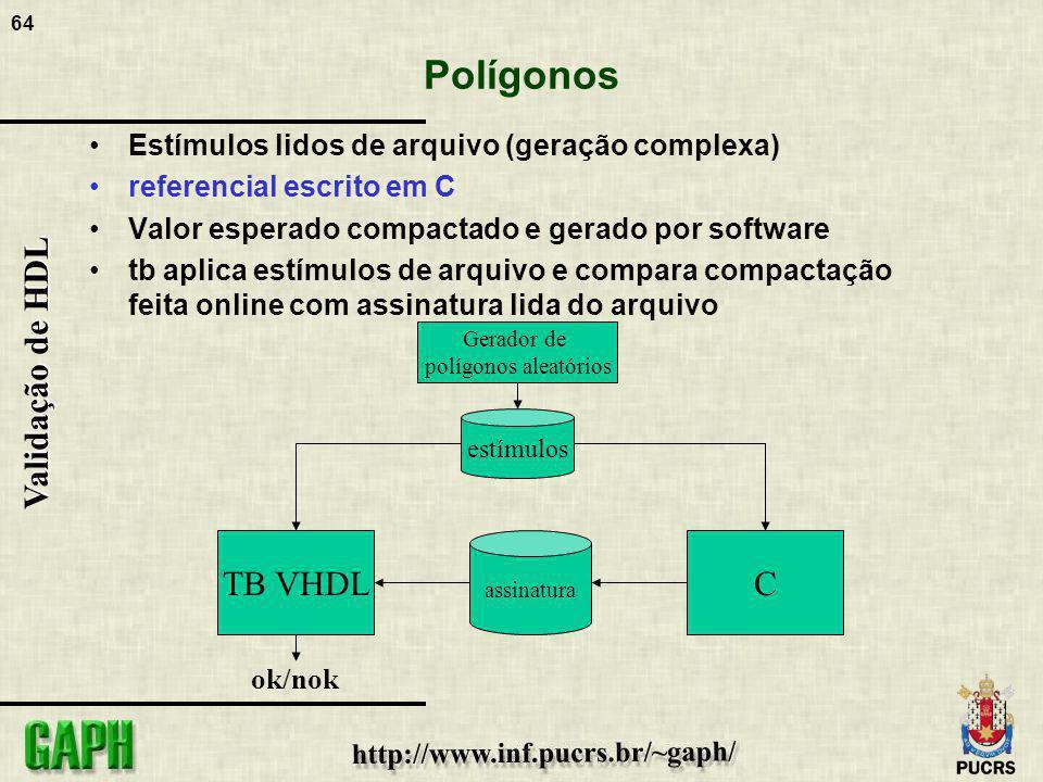 64 Validação de HDL Polígonos Estímulos lidos de arquivo (geração complexa) referencial escrito em C Valor esperado compactado e gerado por software t