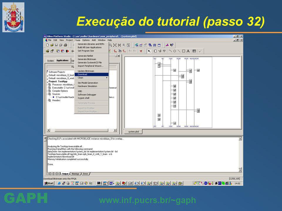 GAPH www.inf.pucrs.br/~gaph Execução do tutorial (passo 32)