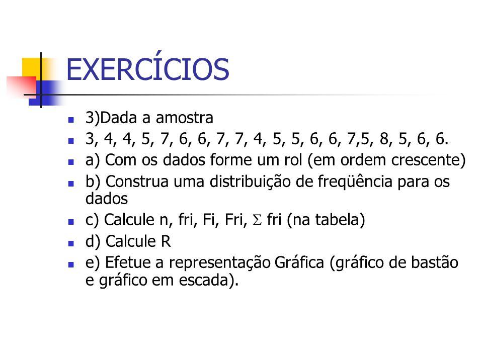 EXERCÍCIOS 3)Dada a amostra 3, 4, 4, 5, 7, 6, 6, 7, 7, 4, 5, 5, 6, 6, 7,5, 8, 5, 6, 6. a) Com os dados forme um rol (em ordem crescente) b) Construa u
