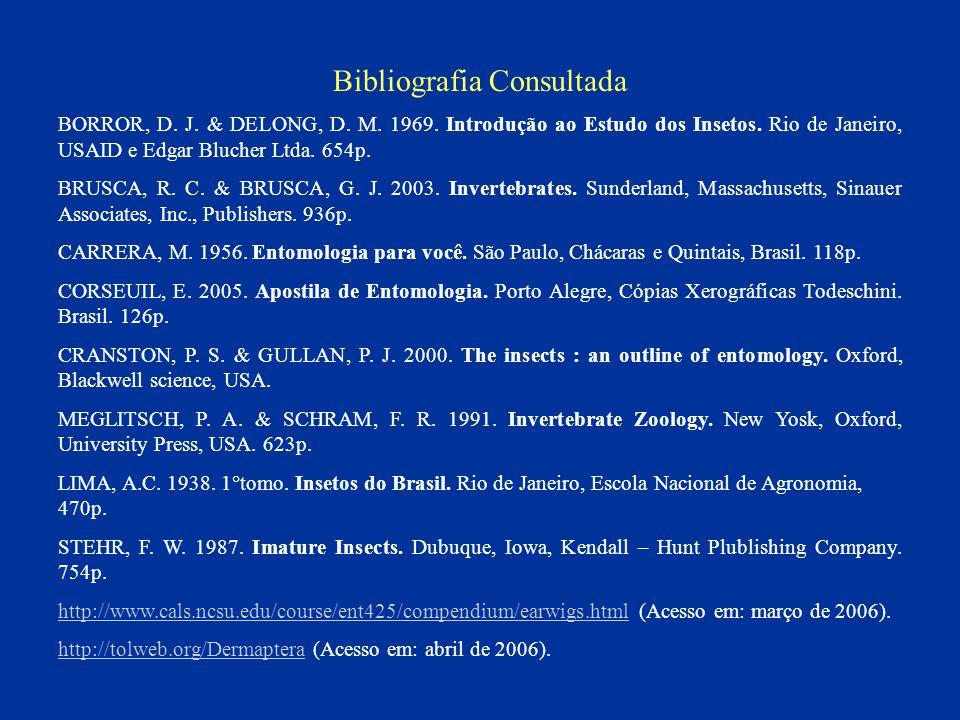 Bibliografia Consultada BORROR, D. J. DELONG, D. M. 1969. Introdução ao Estudo dos Insetos. Rio de Janeiro, USAID e Edgar Blucher Ltda. 654p. BRUSCA,