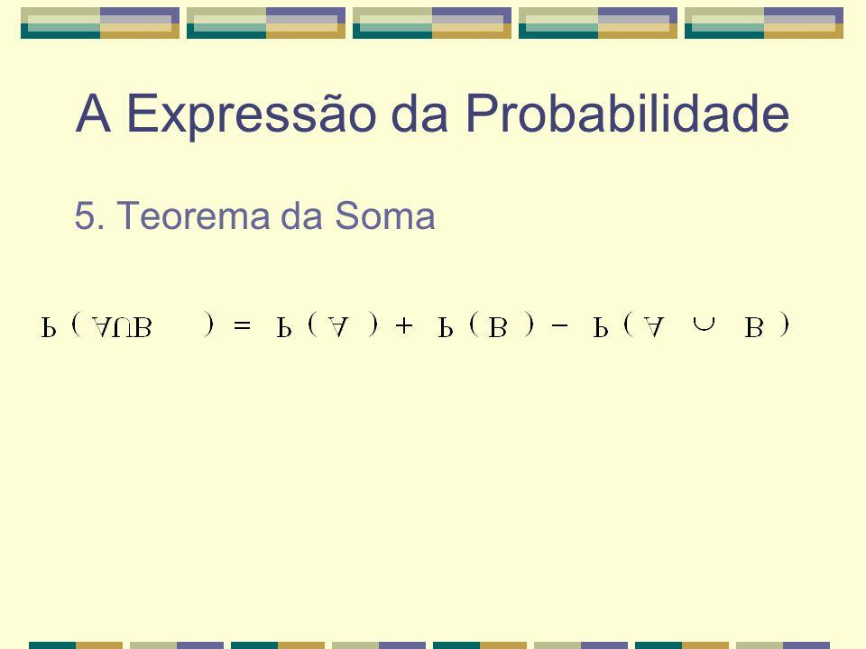 A Expressão da Probabilidade 4. Se A e B são mutuamente exclusivos,