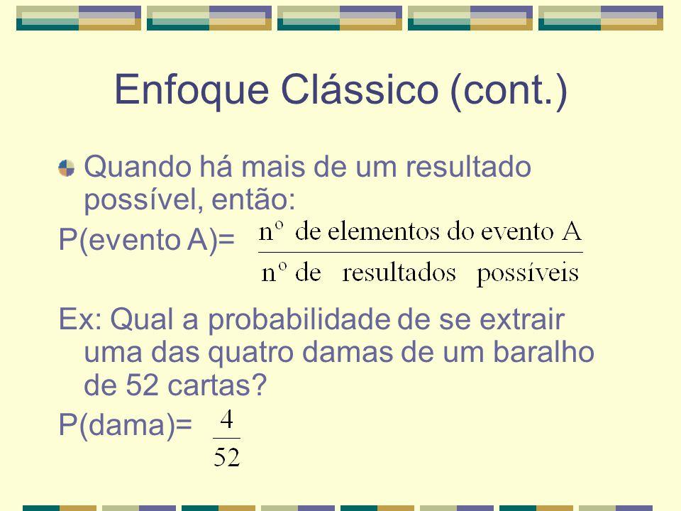 Enfoque Clássico O enfoque clássico aplica-se a situações que têm resultados igualmente prováveis. Ex: Lançamento de uma moeda honesta. Quando os resu