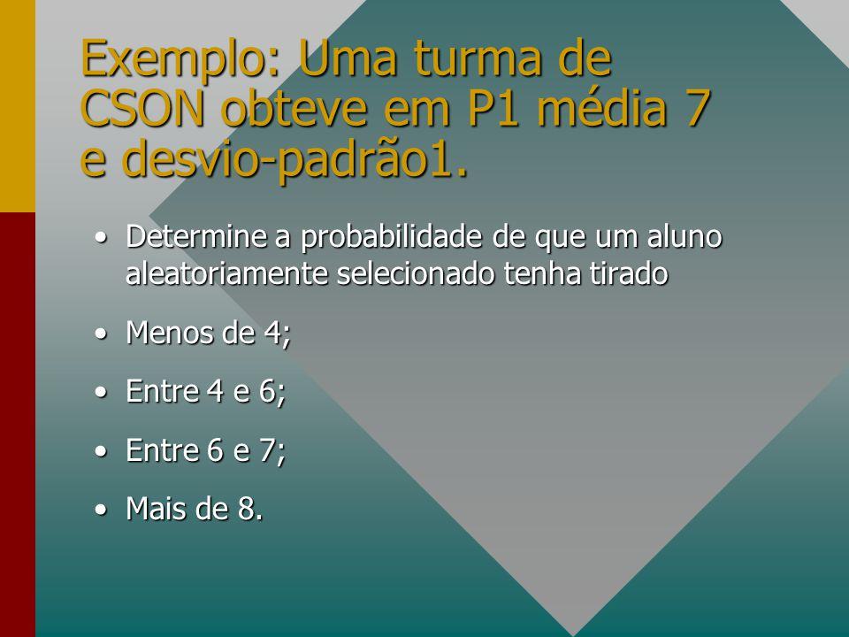 Exemplo: Uma turma de CSON obteve em P1 média 7 e desvio-padrão1.