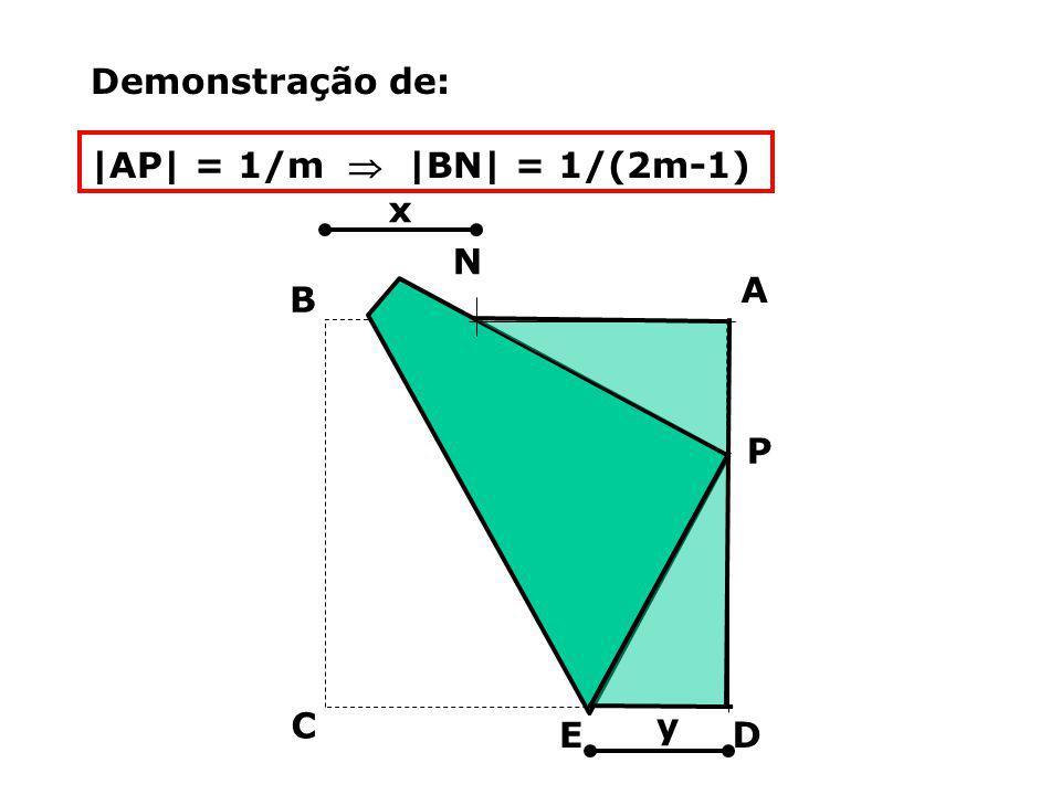P D C B A N Demonstração de: |AP| = 1/m |BN| = 1/(2m-1) x y E
