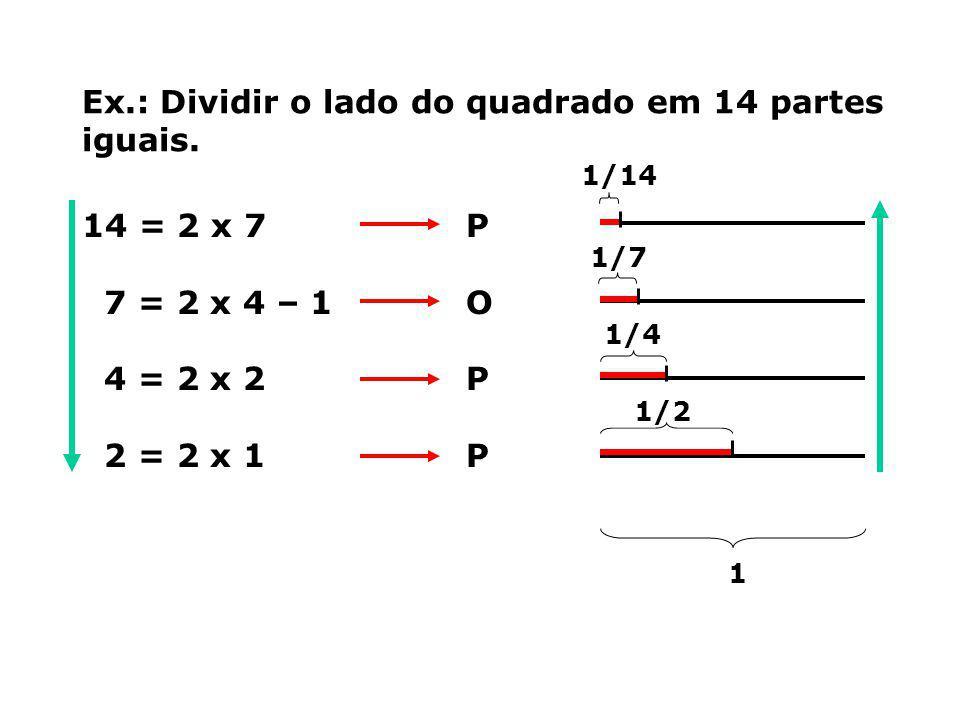Ex.: Dividir o lado do quadrado em 14 partes iguais. 14 = 2 x 7P 7 = 2 x 4 – 1O 4 = 2 x 2P 2 = 2 x 1P 1 1/14 1/7 1/4 1/2