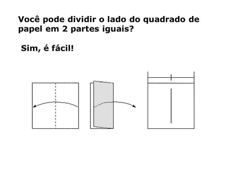 Você pode dividir o lado do quadrado de papel em 2 partes iguais? Sim, é fácil!