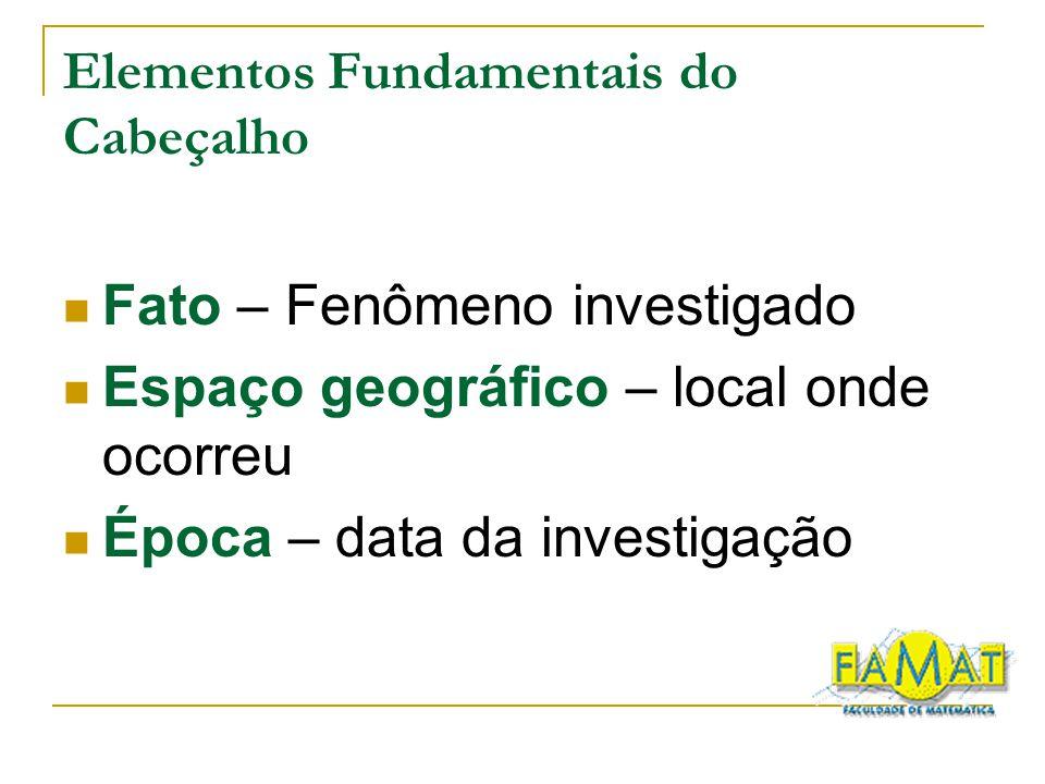 Elementos Fundamentais do Cabeçalho Fato – Fenômeno investigado Espaço geográfico – local onde ocorreu Época – data da investigação