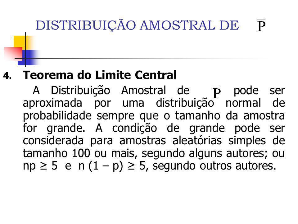 DISTRIBUIÇÃO AMOSTRAL DE 4. Teorema do Limite Central A Distribuição Amostral de pode ser aproximada por uma distribuição normal de probabilidade semp