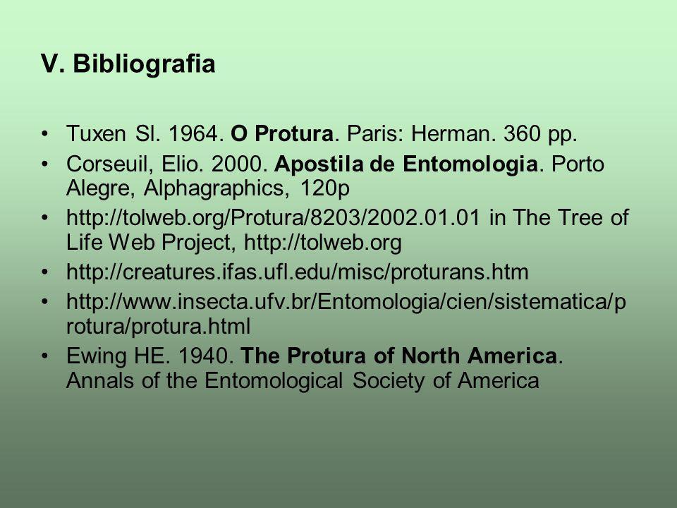 V. Bibliografia Tuxen Sl. 1964. O Protura. Paris: Herman. 360 pp. Corseuil, Elio. 2000. Apostila de Entomologia. Porto Alegre, Alphagraphics, 120p htt