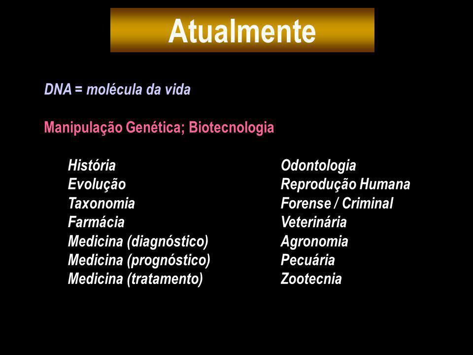 DNA = molécula da vida Manipulação Genética; Biotecnologia História Odontologia EvoluçãoReprodução Humana TaxonomiaForense / Criminal FarmáciaVeteriná