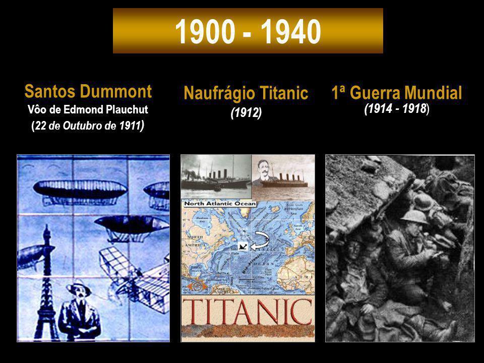 1900 - 1940 Naufrágio Titanic (1912) 1ª Guerra Mundial (1914 - 1918 ) Santos Dummont Vôo de Edmond Plauchut ( 22 de Outubro de 1911 )